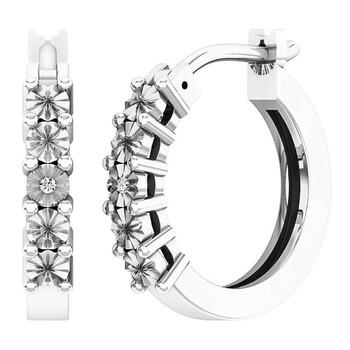 Trang sức Dazzling Rock Dazzlingrock Collection 0.01 Carat (ctw) Round Kim cương trắng Nữ Hoop Huggies Bông tai (khuyên tai