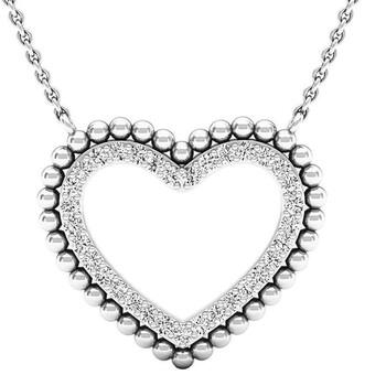 Trang sức Dazzling Rock Dazzlingrock Collection 0.50 Carat (ctw) 14K Round Kim cương trắng Nữ Heart Pendant 1/2 CT (Silver Chain)