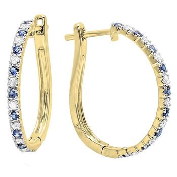 Trang sức Dazzling Rock 14K Round Blue Sapphire & Kim cương trắng Nữ Huggies Hoop Bông tai (khuyên tai