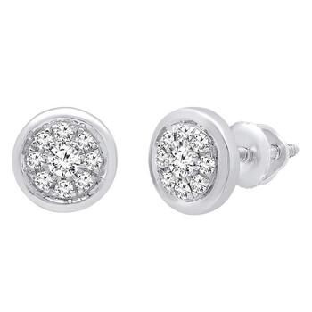 Trang sức Dazzling Rock 0.25 Carat (ctw) 14K Round Kim cương trắng Nữ Cluster Stud Bông tai (khuyên tai