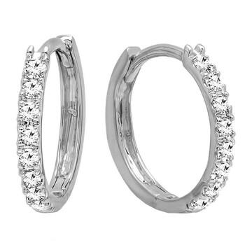 Trang sức Dazzling Rock 0.20 Carat (cttw) 10K Round Kim cương trắng Nữ Huggies Hoop Bông tai (khuyên tai
