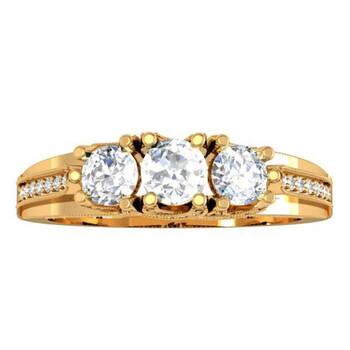 Trang sức Dazzling Rock Dazzlingrock Collection 1.00 Carat (ctw) 14K Kim cương Vintage Bridal 3 Stone Nhẫn đính hôn 1 CT