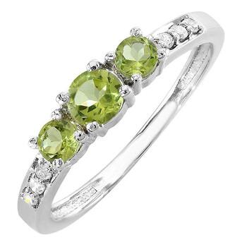 Trang sức Dazzling Rock Dazzlingrock Collection 10K Green Peridot & Kim cương trắng Three Stone Engagement Bridal Nhẫn