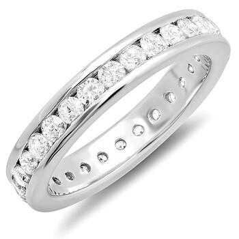 trang sức Dazzling Rock Dazzlingrock Collection 1.75 Carat (ctw) 14k Round Kim cương Nữ Eternity Stackable Anniversary Wedding Band, Vàng trắng chính hãng sale giá rẻ tại Hà nội TPHCM
