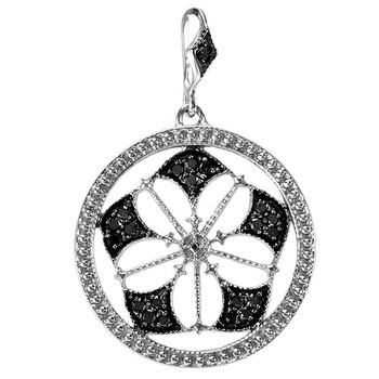 Trang sức Dazzling Rock Dazzlingrock Collection 0.15 Carat (ctw) Round Kim cương đen Fancy Antique Look Circle Nữ Pendant