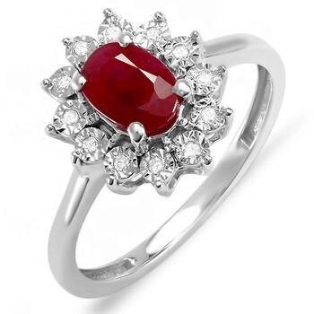 Trang sức Dazzling Rock Dazzlingrock Collection Kate Middleton Diana Inspired 18K Round Kim cương & Oval Ruby Nhẫn đính hôn