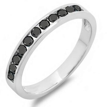 Trang sức Dazzling Rock Nữ Vàng trắng 10K 0.5 CT Kim cương đen Nhẫn cưới chính hãng sale giá rẻ Hà nội TPHCM