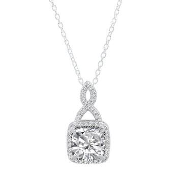 Trang sức Dazzling Rock Dazzlingrock Collection 14K 8 MM Cushion Cut Lab Created White Sapphire & Round Kim cương trắng Nữ Halo Pendant, Vàng trắng chính hãng sale giảm giá sỉ rẻ nhất ở Hà nội TPHCM