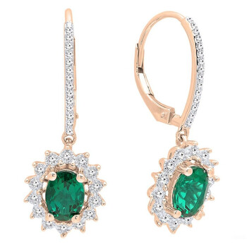 Trang sức Dazzling Rock Dazzlingrock Collection 14K 7X5 MM Each Oval Lab Created Emerald & Round Kim cương Nữ Dangling Bông tai (khuyên tai