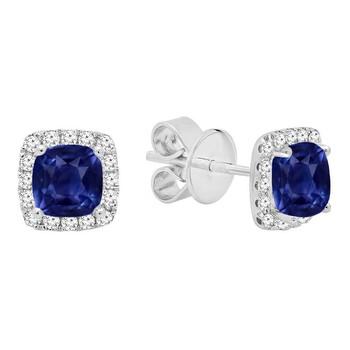 Trang sức Dazzling Rock Dazzlingrock Collection 10K Each 4 MM Cushion Cut Lab Created Blue Sapphire & Round Kim cương Halo Stud Bông tai (khuyên tai