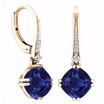 Trang sức Dazzling Rock Dazzlingrock Collection 10K 8 MM Each Cushion Lab Created Blue Sapphire & Round Kim cương trắng Drop Bông tai (khuyên tai