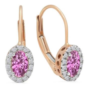 Trang sức Dazzling Rock Dazzlingrock Collection 10K 5X3 MM Each Oval Lab Created Pink Sapphire & Round Kim cương Halo Hoop Bông tai (khuyên tai