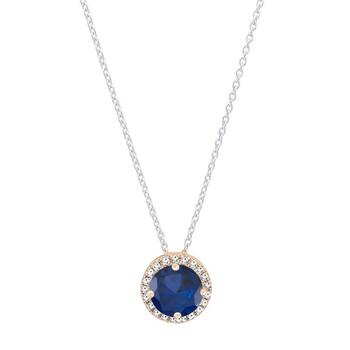 Trang sức Dazzling Rock Dazzlingrock Collection 14K 7 MM Round Lab Created Blue Sapphire & Kim cương trắng Nữ Halo Pendant