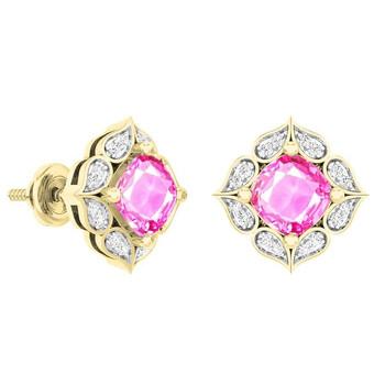 Trang sức Dazzling Rock Dazzlingrock Collection 14K Each 6 MM Cushion Lab Created Pink Sapphire & Round Kim cương Nữ Stud Bông tai (khuyên tai