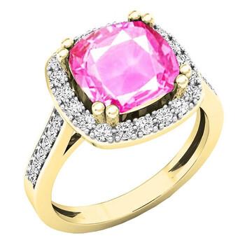Trang sức Dazzling Rock Dazzlingrock Collection 10K 9X9 MM Cushion Lab Created Pink Sapphire & Round Kim cương Nhẫn đính hôn