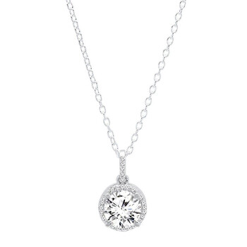 trang sức Dazzling Rock Dazzlingrock Collection 18K 6.5 MM Round Lab Created White Sapphire & Kim cương trắng Halo Pendant, Vàng trắng chính hãng sale giá rẻ tại Hà nội TPHCM