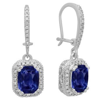 Trang sức Dazzling Rock Dazzlingrock Collection 10K 8X6 MM Each Cushion Lab Created Blue Sapphire & Round Kim cương Nữ Drop Bông tai (khuyên tai