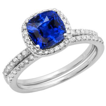 Trang sức Dazzling Rock Dazzlingrock Collection 14K 7 MM Cushion Lab Created Blue Sapphire & Round Kim cương Nhẫn cưới Set, Vàng trắng, Size 8 chính hãng sale giảm giá sỉ rẻ nhất ở Hà nội TPHCM
