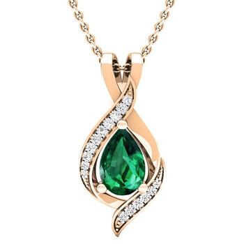 Trang sức Dazzling Rock Dazzlingrock Collection 14K Pear 9X6 MM Lab Created Emerald & Round Kim cương Nữ Pendant
