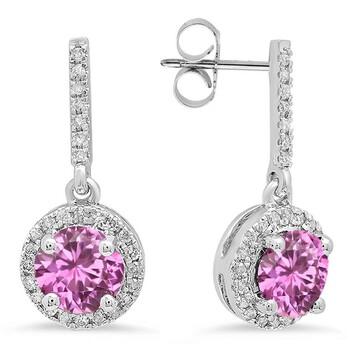 Trang sức Dazzling Rock Dazzlingrock Collection 14K 6 MM Each Round Lab Created Pink Sapphire & Round Kim cương Nữ Halo Drop Bông tai (khuyên tai