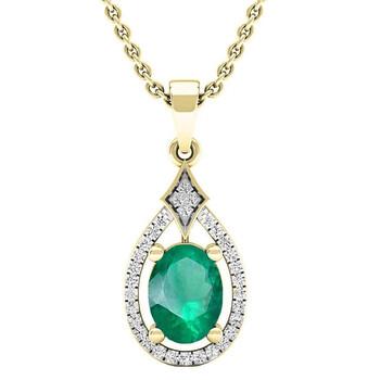 Trang sức Dazzling Rock Dazzlingrock Collection 14K 8X6 MM Oval Lab Created Emerald & Round Kim cương Nữ Pendant