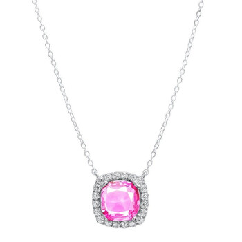 Trang sức Dazzling Rock Dazzlingrock Collection 10 MM Cushion Lab Created Pink Sapphire & Round Kim cương trắng Nữ Pendant