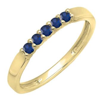 Trang sức Dazzling Rock Dazzlingrock Collection 14K Round Lab Created Blue Sapphire Nữ Anniversary Wedding Band Nhẫn