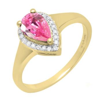 Trang sức Dazzling Rock Dazzlingrock Collection 10K 8X5 MM Pear Lab Created Pink Sapphire & Round Kim cương Nữ Nhẫn