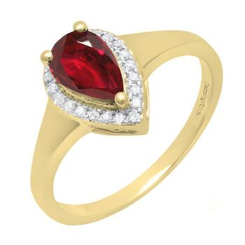 Trang sức Dazzling Rock Dazzlingrock Collection 10K 8X5 MM Pear Lab Created Ruby & Round Kim cương Nữ Nhẫn