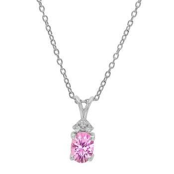 Trang sức Dazzling Rock Dazzlingrock Collection 18K 7X5 MM Oval Created Pink Sapphire & Round Kim cương Pendant (Silver Chain Included)