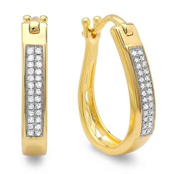 Trang sức Dazzling Rock 0.20 Carat (ctw) Bạc 925 mạ Vàng 18K Round Kim cương Nữ Hoop Bông tai (khuyên tai