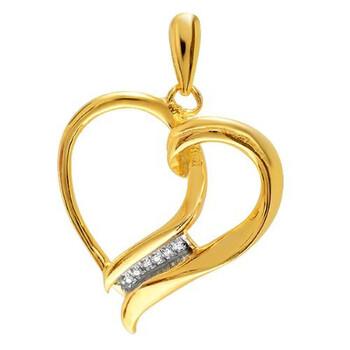 Trang sức Dazzling Rock 0.08 Carat (ctw) Bạc 925 mạ Vàng 18K Kim cương Micro Pave Setting Nữ Heart Pendant chính hãng sale giá rẻ Hà nội TPHCM