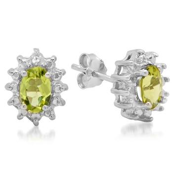 Trang sức Dazzling Rock Dazzlingrock Collection 0.96 Carat (ctw) Genuine Green Peridot và Kim cương trắng Accents Nữ Stud Bông tai (khuyên tai