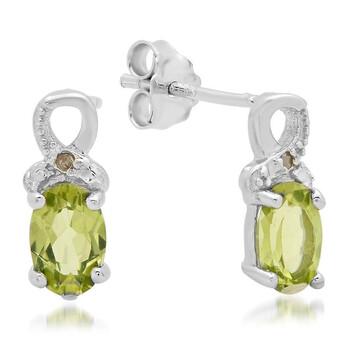 Trang sức Dazzling Rock Dazzlingrock Collection 0.95 Carat (ctw) Green Peridot và Kim cương trắng Accents Nữ Stud Bông tai (khuyên tai