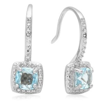 Trang sức Dazzling Rock Dazzlingrock Collection 0.58 Carat (ctw) Blue Topaz & Kim cương trắng Accents Nữ Halo Dangling Drop Bông tai (khuyên tai, hoa tai), Bạc 925 chính hãng sale giảm giá sỉ rẻ nhất ở Hà nội TPHCM