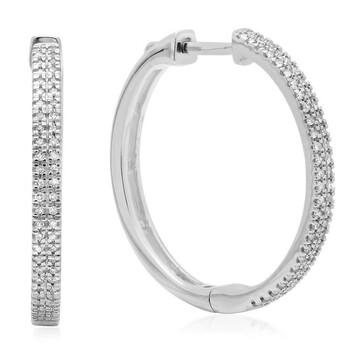 Trang sức Dazzling Rock Dazzlingrock Collection 0.15 Carat (ctw) 14K Round Cut Kim cương trắng Nữ Micro Pave Hoop Bông tai (khuyên tai