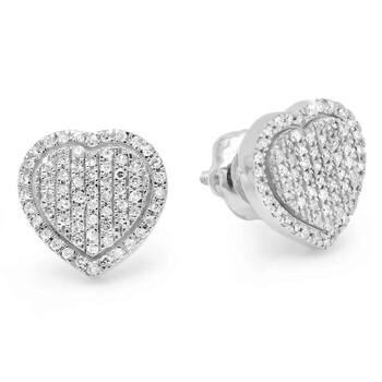Trang sức Dazzling Rock Dazzlingrock Collection 0.37 Carat (ctw) 14K Round Cut Kim cương trắng Nữ Hình trái tim Thời trang Stud Bông tai (khuyên tai