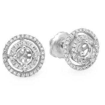 trang sức Dazzling Rock Dazzlingrock Collection 0.14 Carat (ctw) 14K Round Kim cương trắng Cluster Style Stud Bông tai (khuyên tai, hoa tai, No Center Stone), Vàng trắng chính hãng sale giá rẻ tại Hà nội TPHCM
