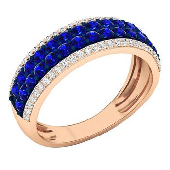 Trang sức Dazzling Rock 14K Round Blue Sapphire & Kim cương Nữ Bridal Multi Row Wedding Band
