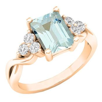 trang sức Dazzling Rock Dazzlingrock Collection 10K 8X6 MM Emerald Cut Aquamarine & Round Kim cương Nhẫn đính hôn nữ, Vàng hồng, chính hãng sale giá rẻ tại Hà nội TPHCM