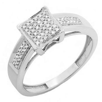 Trang sức Dazzling Rock Nữ 925-Sterling Bạc 925 Round Cut Silver-tone Kim cương Nhẫn cưới chính hãng sale giá rẻ Hà nội TPHCM