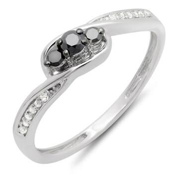 Trang sức Dazzling Rock Dazzlingrock Collection 0.25 Carat (ctw) 10k Round Đen & Trắng Kim cương Nữ 3 Stone Engagement Promise Nhẫn 1/4 CT