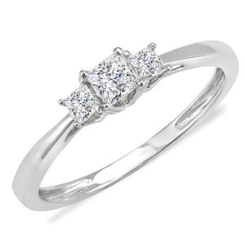 Trang sức Dazzling Rock Dazzlingrock Collection 0.33 Carat (ctw) 14k Princess Kim cương Nữ Bridal 3 Stone Nhẫn Engagement 1/3 CT