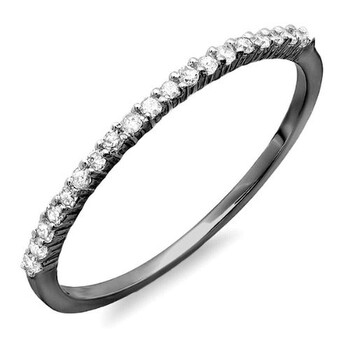 Trang sức Dazzling Rock Dazzlingrock Collection 0.15 Carat (ctw) Đen Rhodium mạ 10k Round Kim cương Anniversary Stackable Nhẫn
