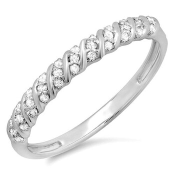 Trang sức Dazzling Rock Nữ Vàng trắng 14K Silver-tone Nhẫn cưới chính hãng sale giá rẻ Hà nội TPHCM