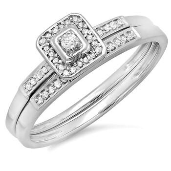 Trang sức Dazzling Rock Nữ Vàng trắng 10K Silver-tone Kim cương Wedding Set Nhẫn chính hãng sale giá rẻ Hà nội TPHCM