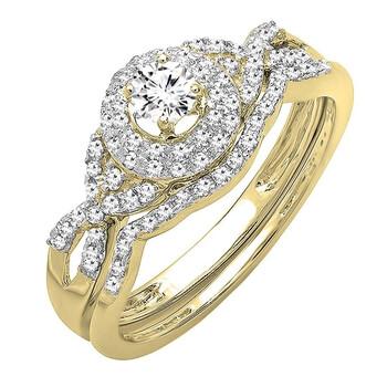 trang sức Dazzling Rock Nữ Vàng 14K Round Cut Silver-tone Kim cương Wedding Set Nhẫn chính hãng sale giá rẻ tại Hà nội TPHCM