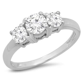 trang sức Dazzling Rock Nữ Vàng trắng 14K Silver-tone Nhẫn đính hôn chính hãng sale giá rẻ tại Hà nội TPHCM