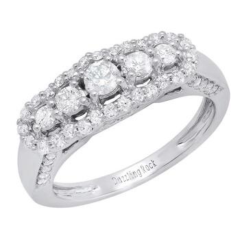 Trang sức Dazzling Rock Dazzlingrock Collection 1.10 Carat (ctw) 14k Round Kim cương Nữ Bridal 5 Stone Nhẫn đính hôn 1 CT