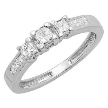Trang sức Dazzling Rock Nữ Vàng trắng 14K Silver-tone Nhẫn đính hôn chính hãng sale giá rẻ Hà nội TPHCM